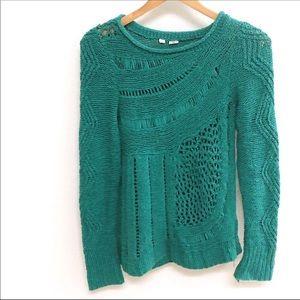 Anthropologie Sweaters - Anthropologie Moth Teal Green Slanted Openworks